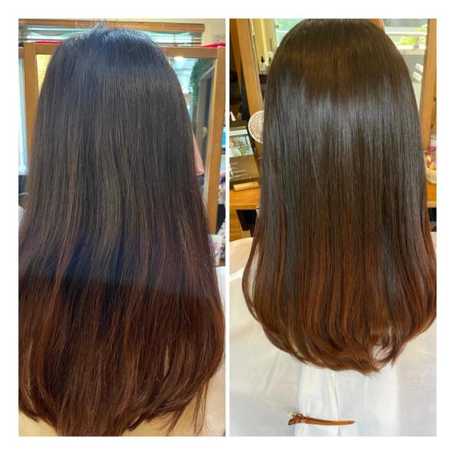 数ヶ月にいっぺんの 髪質改善トリートメント💇♀️✨  Before⇒Afrer ※加工なし  継続して大分コシができてさらさらに✨  gardenatsu   #髪質改善 #トリートメント #髪質改善トリートメント